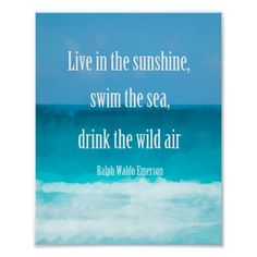 Emerson quote on beach art by Ann Powell poster wall art decor