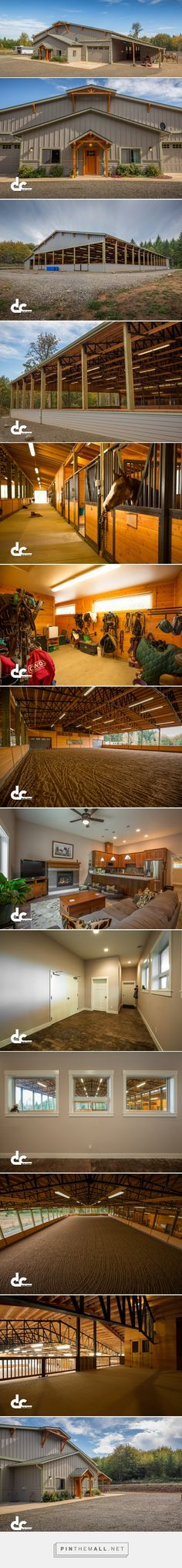 Awesome barn for your horses! Just sharing a gorgeous barn with you! A girl can dream! Covered Riding Arena With Apartment In Oregon City, OR - DC Builders - created via https://pinthemall.net