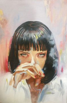 Mia Wallace, Kseniya l, oil on canvas, 2016 : Art Mia Wallace, Art Sketches, Art Drawings, Arte Dope, Feminist Art, Feminist Quotes, Pulp Fiction Art, Movie Poster Art, Art Inspo