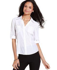 55b3c650a BCX Juniors' Roll-Tab-Sleeve Shirt & Reviews - Tops - Juniors - Macy's.  White Button UpCool ...
