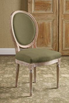 Oval Back Bergere Chair Side Chair - Vanity Chair, Upholstered Dining Chair, Vintage Desk Chair   Soft Surroundings