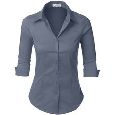 LE3NO Womens Roll Up 3/4 Sleeve Button Down Shirt with Stretch ($16) ❤ liked on Polyvore featuring tops, 3 4 sleeve button down shirts, 3/4 length sleeve shirts, 3/4 length sleeve tops, three quarter sleeve shirts and 3/4 sleeve tops