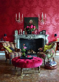 Watermelon looks wonderful in the drawing room. Designers Guild. Who else ?