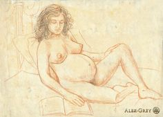 Alex Grey / 1988, pencil on paper, 12 x 16 in. Art › Drawings › Meditations on the Divine Feminine › Allyson Pregnant & Reading