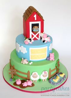 farm yard country barn boy birthday party cake with animals