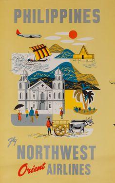 DP Vintage Posters - Northwest Orient Airlines Original Travel Poster Philippines JAN16