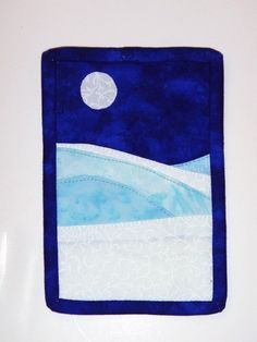 Winter Dreams 3 Quilted Fabric Postcard by nhquiltarts on Etsy, $12.00