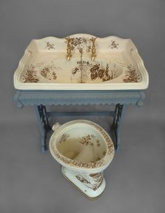 WC with unusual Brown Transfers C.1890 and matching Large Victorian Basin