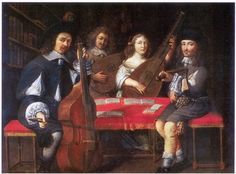 Three Musicians'.(Older man with viola da gamba and twoyoung men at spinets, one according toinscription by Benedetto Florianifrom 1568).Oil on canvas