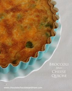 Broccoli and Cheddar Cheese Quiche from www.chocolatechocolateandmore.com