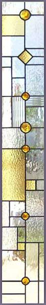 ZOOM to custom abstract stained and leaded glass sidelight window inspired by frank lloyd wright