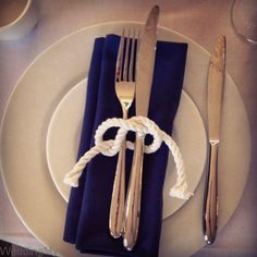 Nautical theme - Love this Reef Knot idea, this is an easy one that every I coul. - Wedding ideas :D - Yacht wedding Nautical Wedding Theme, Nautical Party, Wedding Themes, Our Wedding, Dream Wedding, Wedding Ideas, Themed Weddings, Nautical Wedding Centerpieces, Wedding Favors
