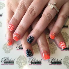 """Adorable Orange, Black & White #manicure with chevron and Leonard.  #nailswag #nailart #naildesign #instanails #nailsokc #okcnails #yukonsbest #okcBest #okc #nails #nailsalon #nailaddict  #nailie #Nailsalon #getpolished #bestManiPedi #BestFacial #polishednailsok #getPamperedAtPolished #NewNails #naillove #notd #nailsoftheday"" Photo taken by @polishednailsok on Instagram, pinned via the InstaPin iOS App! http://www.instapinapp.com (10/14/2015)"