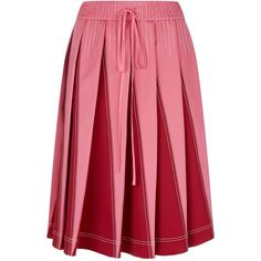 Valentino Contrast Stitch Pleated Midi Skirt (€1.290) ❤ liked on Polyvore featuring skirts, pink pleated skirt, valentino skirt, mid-calf skirts, calf length skirts and pink midi skirt