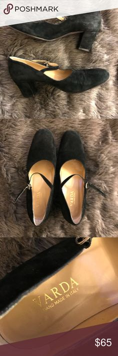 Varda Handmade Black Suede Mary Janes These suede Mary Janes are handmade in Italy. They are beautiful and classy. Varda Shoes Heels