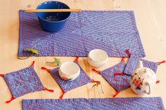 SALE Spring and autumn sashiko coasters and place mats set