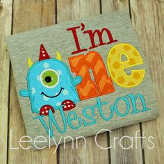 I'm one personalized monster birthday shirt Boys by LeelynnCrafts