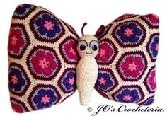 Crochet pattern - The African Flower Butterfly Pillow by JO's Crocheteria…
