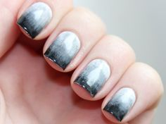 black to white Ombre Nails