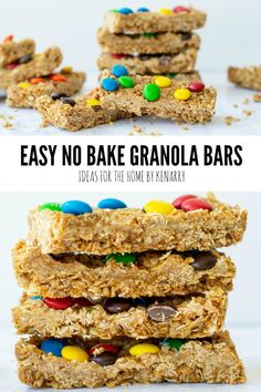 Treat your kids to an easy homemade snack after school. These No Bake Granola Bars with M&Ms, oatmeal and peanut butter are delicious and simple to make. No Bake Granola Bars, No Bake Bars, Delicious Breakfast Recipes, Snack Recipes, Easy Homemade Snacks, Peanut Butter Cup Cookies, Oatmeal Recipes, Mini Chocolate Chips, Afternoon Snacks