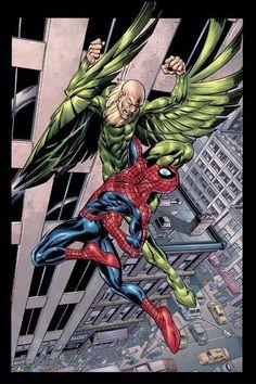"Mark Bagley - Spider-Man vs Vulture in ""Pulse"" Marvel Art, Marvel Dc Comics, Mark Bagley, Ultimate Marvel, Comic Art Community, New Avengers, Man Vs, Amazing Spiderman, Marvel Memes"