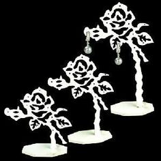 Acrylic Rose Shaped Earring Display Stand Set Earring Display Stands, Earring Hole, White Acrylics, Rose Earrings, Rose Design, Roses, Pairs, Accessories, Jewelry