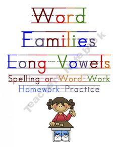 Long Vowel Word Family Homework/Classwork Practice Worksheets