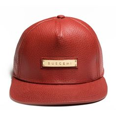 BUSCEMI ITALIAN LEATHER SCREWBACK HAT | RED ($595) ❤ liked on Polyvore featuring accessories, hats, red hat and leather hat