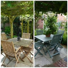 A few people have asked to see before and after pics of my table and chairs. I used Cuprinol garden shades in Wild Thyme. Wooden Outdoor Table, Wooden Garden Table, Outdoor Tables And Chairs, Garden Table And Chairs, Painted Garden Furniture, Paint Furniture, Furniture Makeover, Outdoor Furniture, Garden Fence Paint