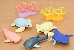 Aquarium Sea Animals Iwako erasers set 8 pieces from Japan