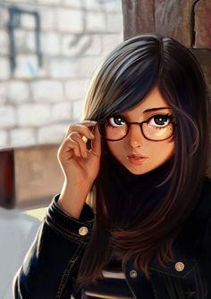 70 Best Ideas For Glasses Girl Anime Beautiful Cute Cartoon Girl, Cartoon Art, Anime Art Girl, Manga Girl, Anime Girls, Chica Cool, Girly M, Cute Girl Drawing, Girly Drawings