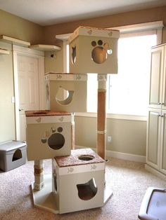 18 Cat House Design Images - Modern Cat Houses of 2019 - The Architecture Design. - 18 Cat House Design Images – Modern Cat Houses of 2019 – The Architecture Designs - Cat Box Furniture, Furniture Ideas, Cardboard Cat House, Cat Castle, Cat Gym, Cat House Diy, Diy Cat Tree, Cat Towers, Animal Room