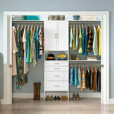ClosetMaid SuiteSymphony 84 W 120 W Closet System Reach In Closet, Closet Space, Diy Walk In Closet, White Closet, Small Closets, Dream Closets, Small Master Closet, Ideas Armario, Dressing Design