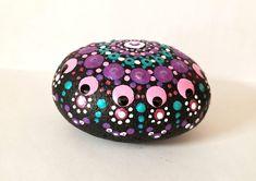 Mandala Rocks, Side View, Purple, Pink, Christmas Bulbs, Dots, Holiday Decor, Green, Home Decor