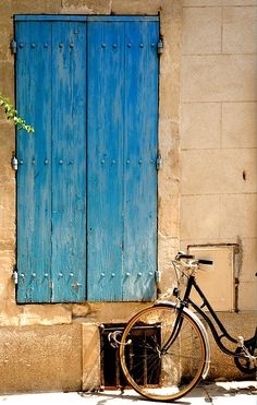 | ♕ |  Blue door and bicycle - Arles, Provence  |...