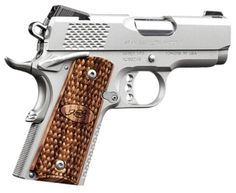 Stainless Kimber Ultra Raptor.  Caliber: .45 ACP  Type: Pistol   Caliber: .45 ACP  Weight: 1.6 lbs (0.7 kg)   Length: 6.8 in (17.3 cm)   Barrel length: 3 in (7.6 cm)   Capacity: 7-round magazine   Fire Modes: Semi-Auto