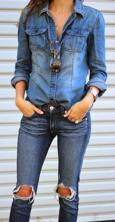 "Denim on denim? I'm pretty sure the proper term is ""Canadian tuxedo"". :) Either way, I love the look."