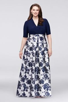 Floral Navy Surplice Plus Size Ball Gown Mother of the Bride dress or Mother of the Groom dress with Jacquard Skirt available at David's Bridal Plus Size Formal Dresses, Plus Size Gowns, Dress Plus Size, Plus Size Outfits, Ball Dresses, Ball Gowns, Pageant Dresses, Halter Dresses, Tunic Dresses