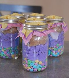 Great easter gifts for grandchildren can put colored krispie treats easter bunny smores in a jar negle Images