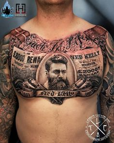 Ned Kelly Chest Tattoo