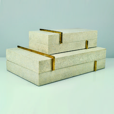 shagreen boxes, brass ,luxury boxes ginger brown