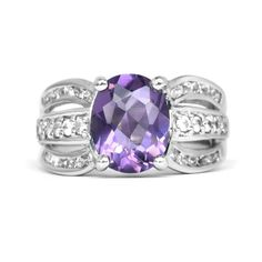 PRETTY 10x8mm Natural Purple Amethyst Ring With White Zircon in 925 Silver #Thaigemstore #SolitairewithAccents