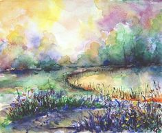 This beautiful watercolor landscape painting is about sunrise on a lake shore