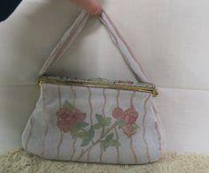 Vintage French Glass Beaded Purse Pink Roses Green Leaves Cloisonne Roses Evening Bag by KansasKardsStudio on Etsy