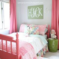 Pink and green is such a sweet combination for a girl's room. Pink Jenny Lind bed and curtains/ green monogram and bedside table from the Woven Home