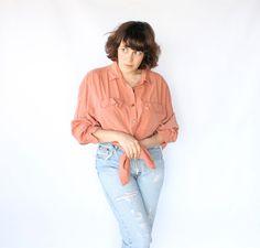 Vintage 80s Peach Long Silky Blouse // Women's Lightweight Spring Top. $40.00, via Etsy.