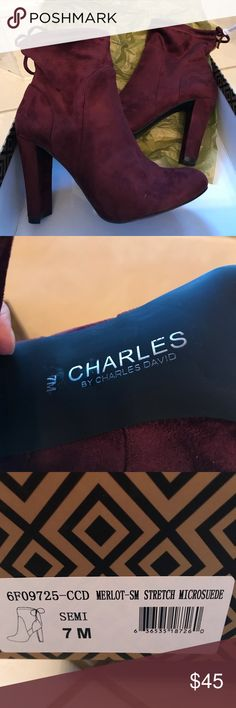 NWOT Charles David Suede Booties NWOT Charles by Charles David. Merlot Microsuede ladies booties, with original box. They are very stylish but too small for me. True to size. Charles David Shoes Ankle Boots & Booties