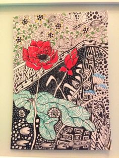 one part of three Zentangel inspired Art