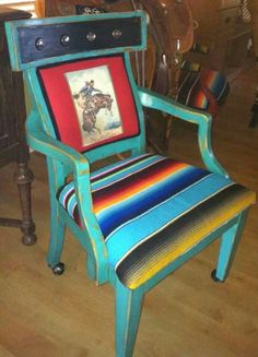 Perfect addition to your ranch office. Texas star concho details with serape covered seat. By Kathy Woolley Originals Western Style, Western Decor, Rustic Decor, Western Crafts, Rustic Chic, Western Furniture, Home Decor Furniture, Home Decor Items, Rustic Furniture