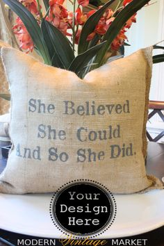 YOUR DESIGN Pillow ,Custom 18 x 18 Pillow with insert included, Personalized Pillows , #Pillows, #Burlap Pillow Modern Vintage Market on Etsy, $45.00